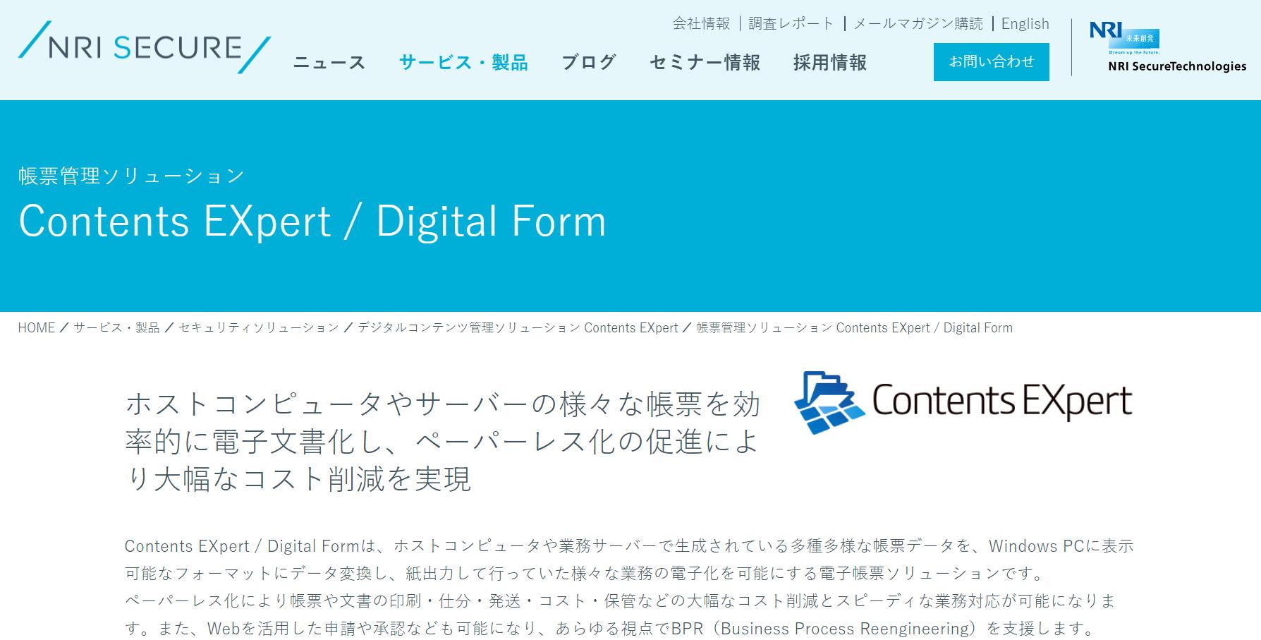 Contents EXpert/Digital Form