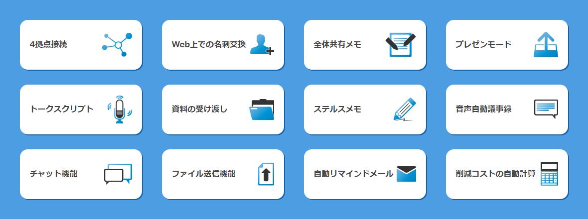 4拠点接続、Web上での名刺交換、全体共有メモ、プレゼンモード、トークスクリプト、資料の受け渡し、ステルスメモ、音声自動議事録、チャット機能、ファイル送信機能、自動リマインドメール、削減コストの自動計算